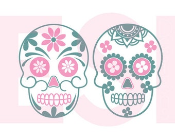 Sugar Skull SVG, DXF, EPS,cutting files use with Silhouette Studio & Cricut Design space. Halloween svg, Day of the dead svg.