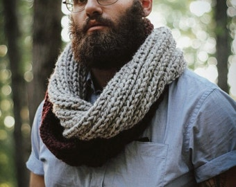 Chunky Knit Two-Tone Infinity Ribbed Circle Scarf Shawl Hood|| THE COTTONWOOD