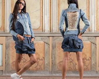 SALES / SALES - Destroyed & studded denim jacket / shredded jacket and tachuelada - #008