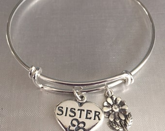 Sister bracelet-sterling silver charms and bracelet