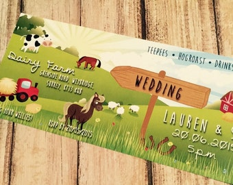SAMPLE Farm Animal Country Wedding Ticket Invitations!