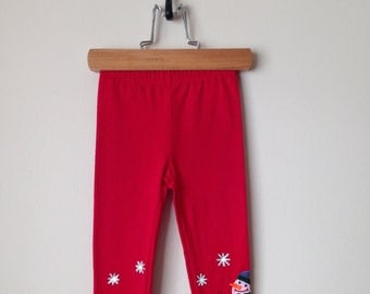 Baby Girl Christmas Leggings, Toddler Girl Christmas Leggings, Kids Christmass Leggings with Hand Painted Snowman and Snow Flakes