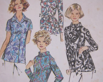 Vintage Sewing Pattern Ladies Tunic Top, Ladies Blouse, Roll Neck, Simplicity 5359, 70s, Size 18, Plus Size, 40 Inch Bust