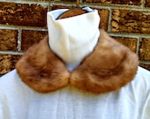 Vintage Detachable Fur Collar, Red Fox Choker Collar with Hook and Eye Clasp, Satin Lining, Mid Century Fashion, Circa 1950s