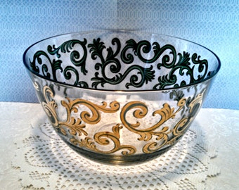 """Vintage """"Cora"""" Roly Poly Serving Bowl by Cera Glass, 24kt Gold Encrusted Scroll Design, Signed, Mid Century Modern, Circa 1950s"""