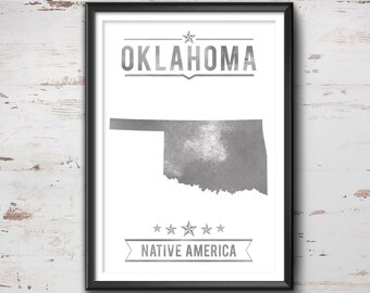 Oklahoma State Typography Print, Typography Poster, Oklahoma Poster, Oklahoma Art, Oklahoma Gift, Oklahoma Decor, Oklahoma Love, Oklahoma