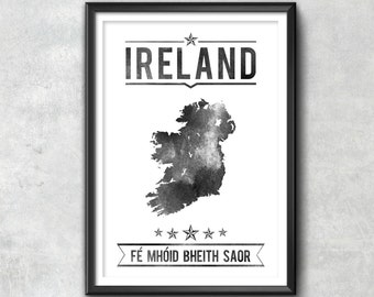 Ireland Typography Print, Ireland Poster, Ireland Wall Art, Ireland Gift, Ireland Decor, Ireland Print, Ireland Map, Ireland Decor, Ireland