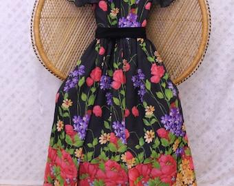 vintage black floral sheer 70s folk ballon sleeves gypsy hippy maxi boho dress S