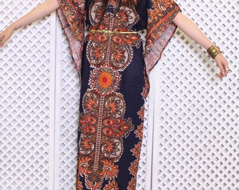 Vintage navy dashiki boho gyspy 70s hippy cotton indian ethnic mini smock dress S