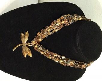 Ice glitz ladder trellis ribbon crocheted necklace