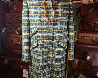 Vintage 1970's Pendleton 100% Wool Green Plaid 3/4 Length Women's Size Large/XL--Made in the USA
