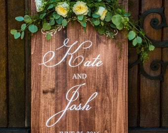Solid Wood Wedding Welcome Sign Custom Stained Pine 20x36""