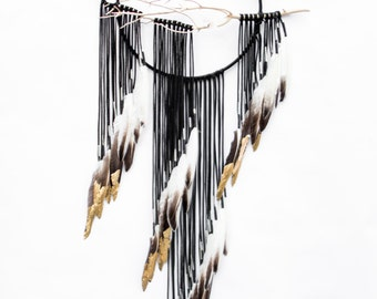 "Branch Dreamcatcher, Lark - 12"", black leather dream catcher"