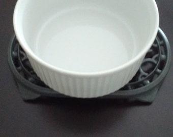 "Revol Porcelaine' Souffle Dish-  France, Revol ""depuis 1789"" 214/6 Baking Dish, French White Ribbed Baking Dish"