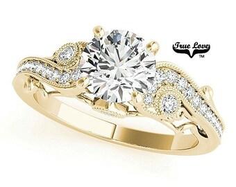 Moissanite Engagement Ring 14kt Yellow Gold #7705