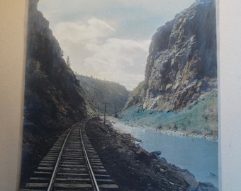 Vintage hand-painted photograph of Black Canyon of the Gunnison