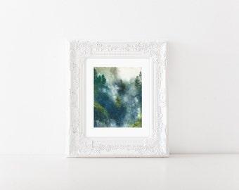 Mountain art print >Watercolor foggy landscape > Landscape watercolor >  Alpine trees print > Mountain illustration > Trees art print