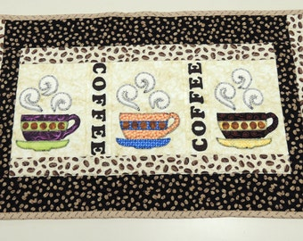 Items Similar To Coffee Quilt Handmade Wall Hanging