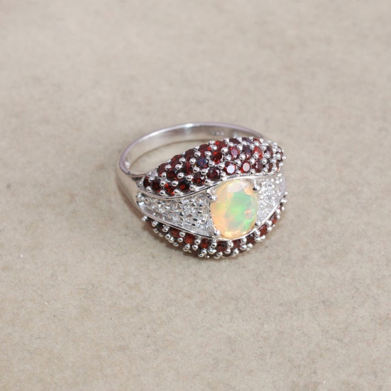 Items Similar To Opal Ring Exquisite Braided Opal: Items Similar To Ethiopian Opal, Garnet, White Topaz 925
