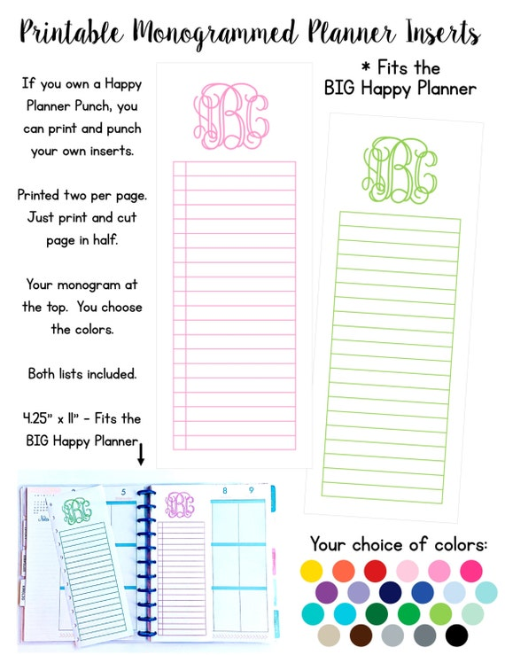 Print Your Own Monogrammed List Inserts - Fits the BIG Happy Planner