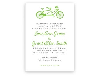 Tandem Bike Wedding Invitation Template ~ Personalized Tandem Bicycle Wedding Invitation ~ DIY Printing ~ Custom Printing