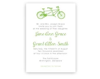 Tandem Bike Wedding Invitation Template ~ Personalized Tandem Bicycle Wedding Invitation ~ DIY Printing ~ Custom Printing