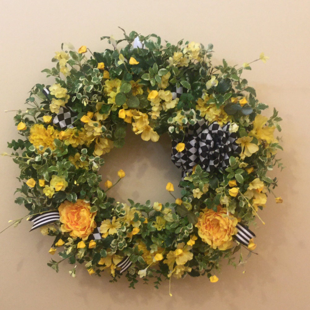 Flowers For Front Door: Front Door Wreath With Yellow Flowers And Accented With Black