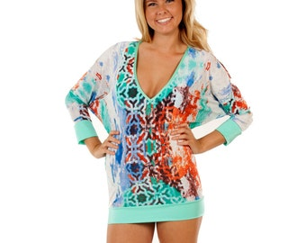 V-Neck Kimono Cover Up