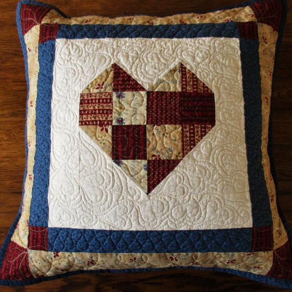 Quality Throw Pillows : Quilted Throw Pillow Large Lounge Pillow Country Patchwork