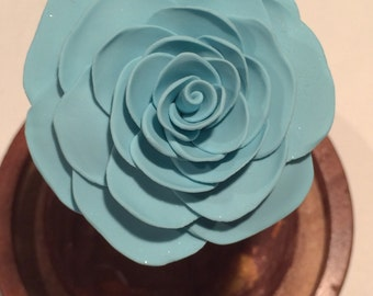 Beauty and the Beast Rose, light Blue Shimmering Rose, Rose in glass, Rose in a dome, Enchanted Rose blue rose, beauty and the beast wedding