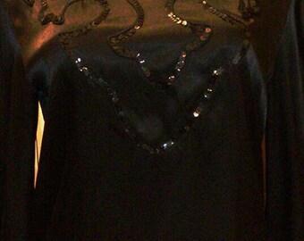 Black vintage sequin blouse Sz 12