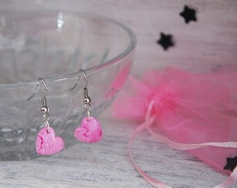 Earrings pink heart, heart fimo, jewelry for Valentine, Valentine heart, gift idea for Valentine