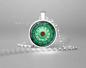 ZODIAC ASTROLOGY CHART Zodiac Necklace Rose Charm Astrology Necklace Zodiac Pendant Zodiac Astrology Jewelry Horoscope Necklace Zodiac Green