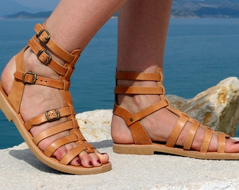 Leather Sandals - NEW Handmade Leather Gladiator Sandals, Full Grain Leather Sandals - Women Sandals - Natural color - waxed  leather