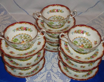 Royal Albert CHELSEA BIRD Soup Cup And Saucer,