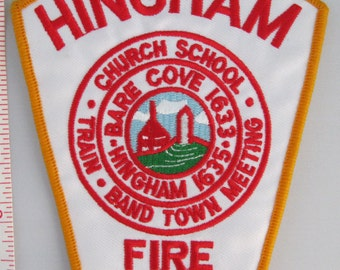 Hingham Fire Dept. Embroidered Patch, Embroidery Patch, Applique Patch, Embroidered Patch, Vintage Patch