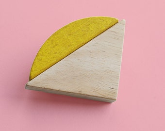Colorful brooch, wood play blocks, reuse recycle, geometric shape, yellow square triangle