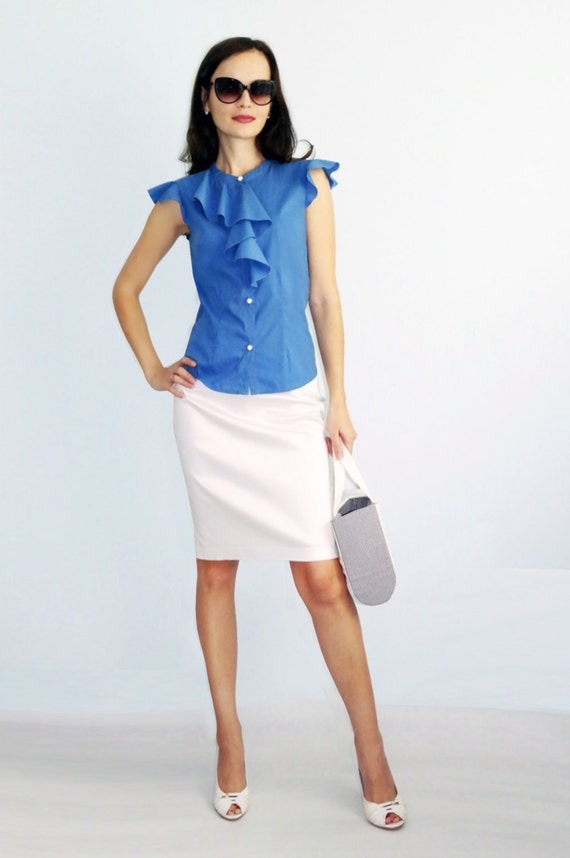 summer blue shirt and white skirt blue and white suit summer