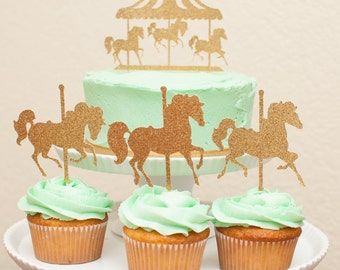 Carousel Horses Cupcake Toppers in Gold set of 12