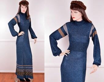 70s Knit Semi Sheer Metallic Blue Dress