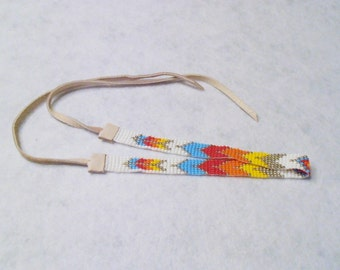 Native Style Seed Bead Choker, Red, Yellow, Sky Blue, Orange, Silver, and White Handmade, Native American Inspired Design, Multi Star