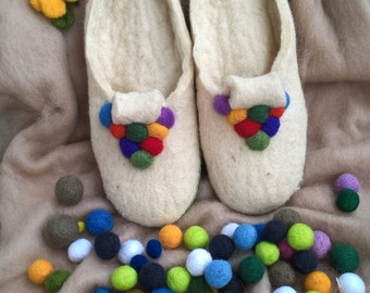Felt Slippers Felted Home Slippers Shoes Wool Felt Slippers Womens Slippers Footwear, Mothers Day Gift for Mother Daughter Wife
