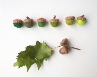 Felt acorns, colorful felt acorns, felt balls with acorn caps acorn hats, 6 wool felt mixing balls, mix and match, fall colors felt balls