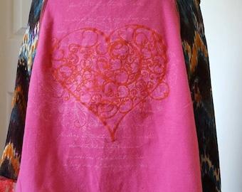 Upcycled heart T-shirt skirt, bohemian pattern with lace ruffle mini skirt