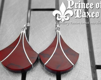 RED JASPER Dangle Earrings Taxco .925 Sterling silver. 100% handmade and unique modern design. Model# EVLEA009. Free shipping!