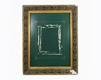 Vintage ornate frame Antique gesso frame Vintage wood frame Wood wall frame Gold picture frame Frame with glass Antique picture frame
