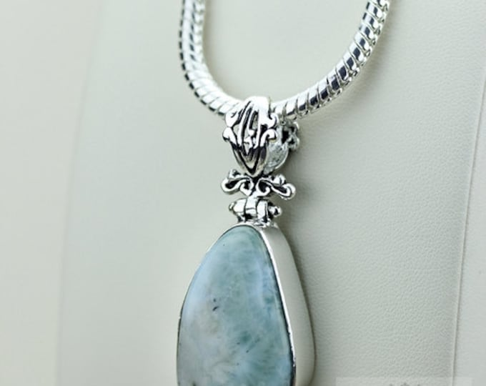 Genuine Caribbean LARIMAR 925 S0LID Sterling Silver Pendant + 4MM Snake Chain & Free Worldwide Shipping P3507