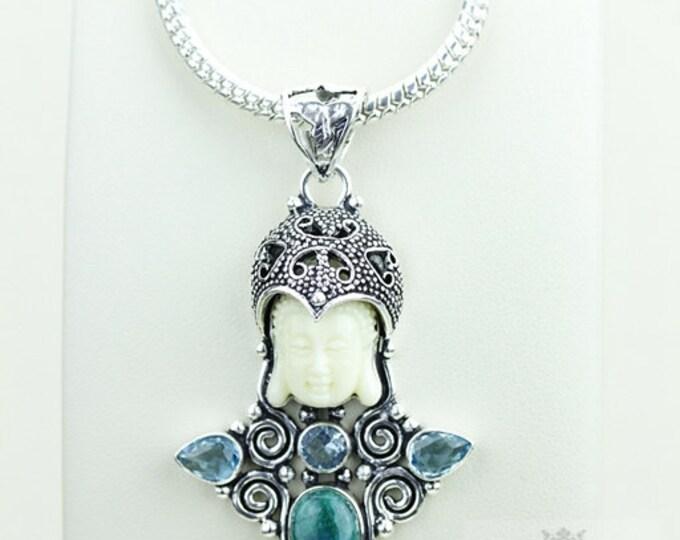 Glitz and Glam! Kwan Yin Guanyin BUDDHA Goddess Face Moon Face 925 S0LID Sterling Silver Pendant + 4MM Chain & Free Shipping p3820