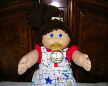 Vintage Jesmar Cabbage Patch Kid Doll # 4 HM/Pacifier~ Brown Single Pony/Blue Eyes/Freckles!