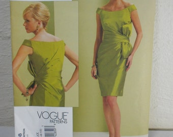 Vogue UNCUT Pattern Bellville V1108 Sassoon Fitted Side Bow Sheath Dress 2009 One Pattern for Misses Sizes 4-10